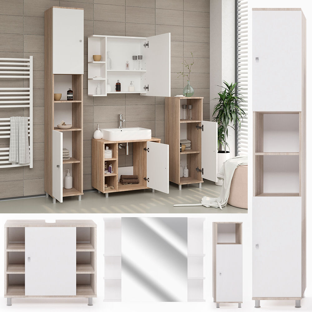 vicco badm bel set fynn eiche sonoma spiegelschrank unterschrank badschrank ebay. Black Bedroom Furniture Sets. Home Design Ideas