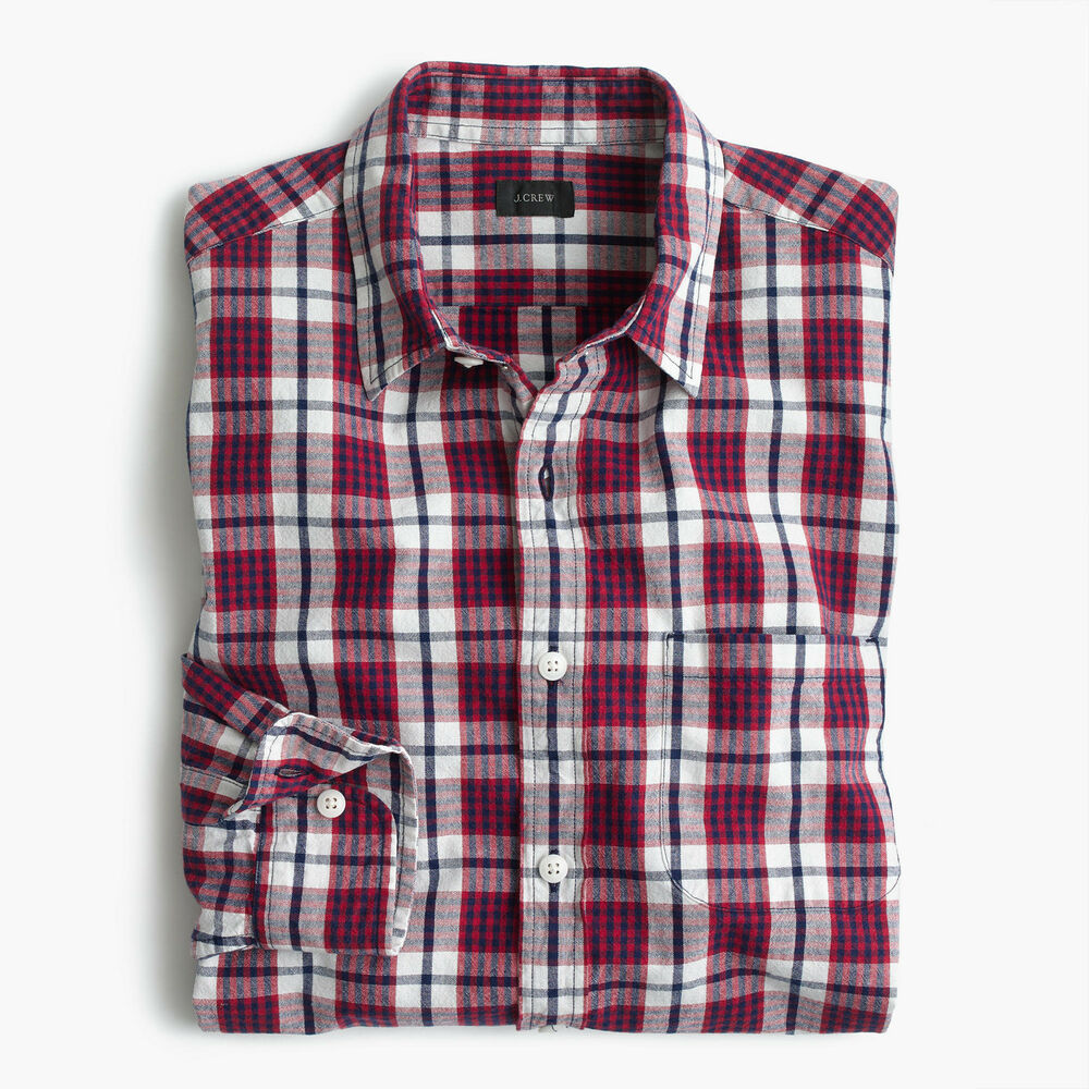 New J Crew Mens Slub Cotton Shirt Button Up Long Sleeve Plaid Red