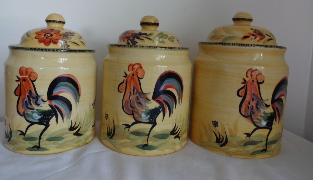 Vng Olive Thyme Jars Canister Colorful Country Rooster Ceramic Kitchen Pottery Ebay