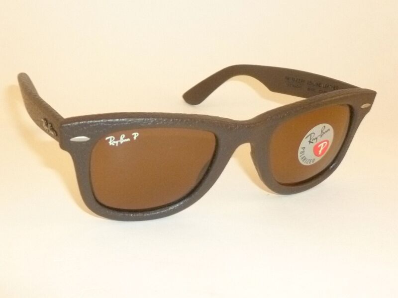 693d023062 Details about New RAY BAN WAYFARER BROWN LEATHER Sunglasses RB 2140QM  1153 N6 Polarized Lenses