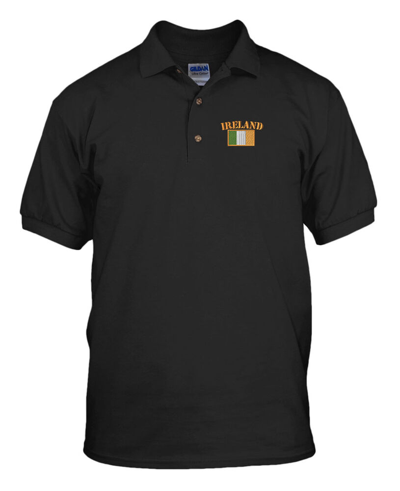 Ireland flag embroidery embroidered golf polo shirt ebay for What stores sell polo shirts