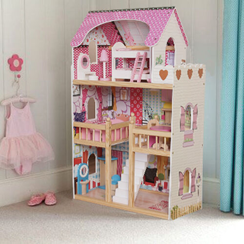 Wooden Dollhouse Large Dolls House 17pcs Furniture Barbie Doll Ebay