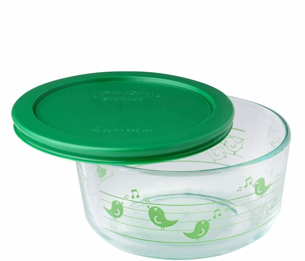 PYREX 4 Cup YELLOW or GREEN BIRDS Glass Storage Bowl