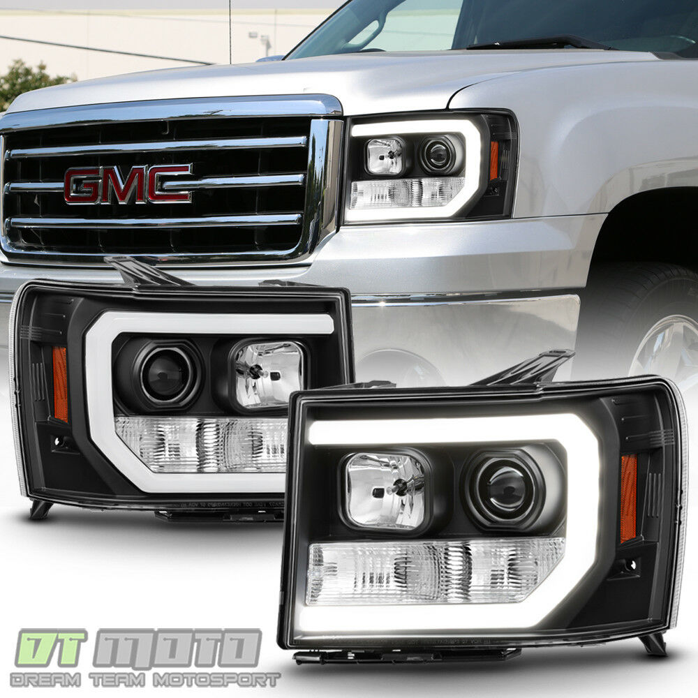 Black 2007 2013 Gmc Sierra 1500 2500hd 3500hd Led Drl Tube