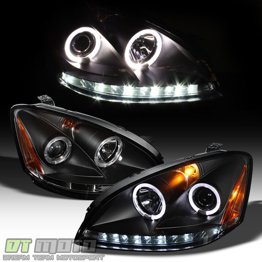 Black For 2002 2004 Altima Led Drl Halo Projector