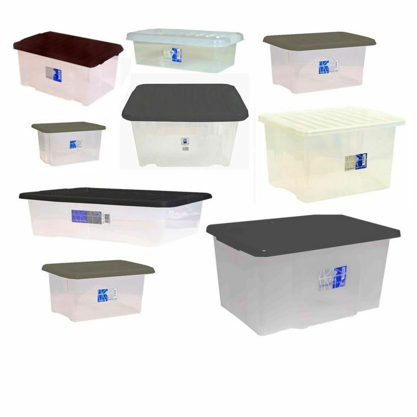 Large Plastic Storage Clear Box With Lid Made In U.K.   Set Of 5 Container  | EBay