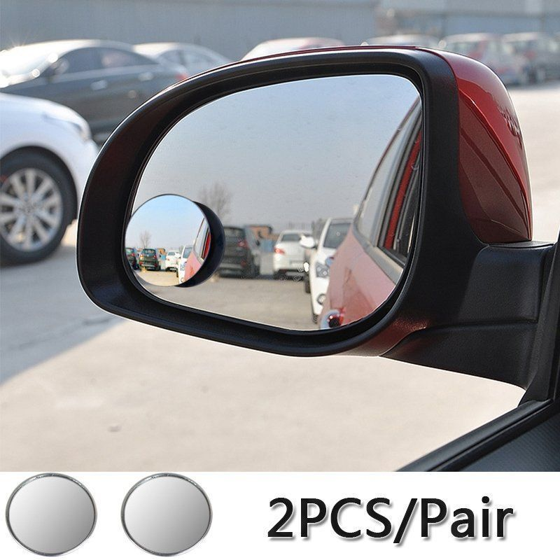 2pcs Wide Angle Convex Car Blind Spot Round Stick On Side