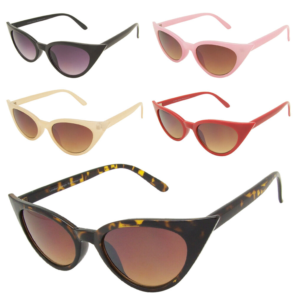 19460d1a914f Details about Womens Rockabilly 50s Retro Style Pointy Sharp Cat Eye  Sunglasses