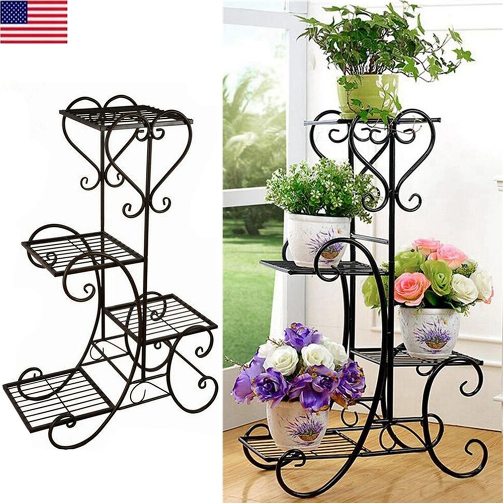 4 tier plant stand screen home decor folding metal flower. Black Bedroom Furniture Sets. Home Design Ideas