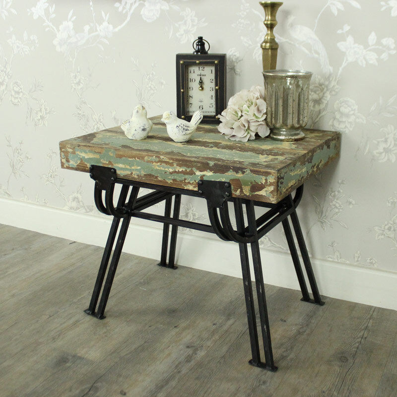 Wooden Side Tables For Living Room: Wood Metal Distressed Stool Side Table Shabby Chic Living