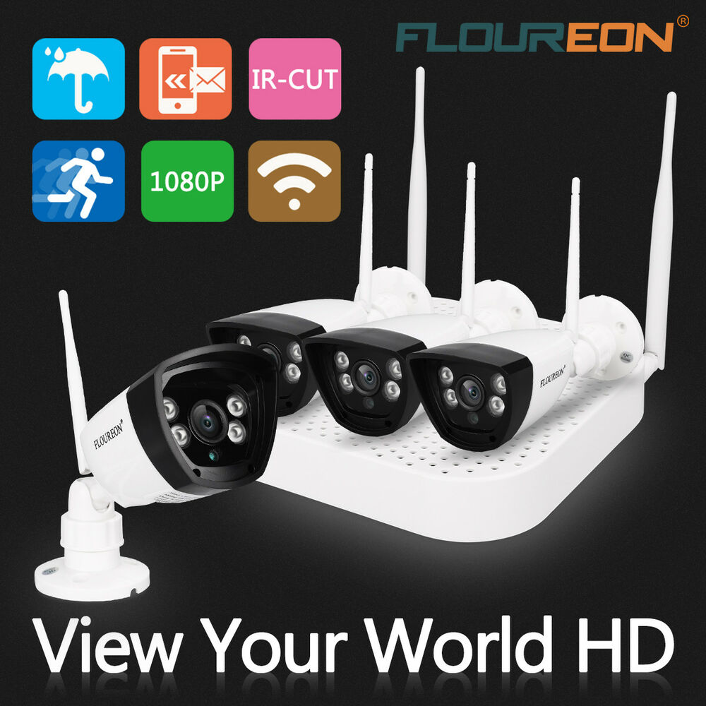 4ch hd 1080p cctv nvr wlan berwachungskamera set mit 4x funk aussen ip kamera ebay. Black Bedroom Furniture Sets. Home Design Ideas