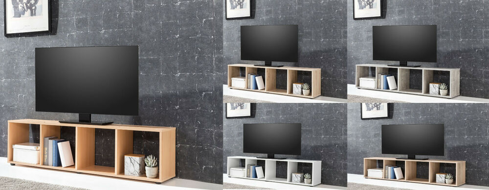lowboard tv ablage regal unterschrank mit 4 f chern eiche. Black Bedroom Furniture Sets. Home Design Ideas
