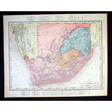 Antique Map South Africa Cape of Good Hope 1898 Color