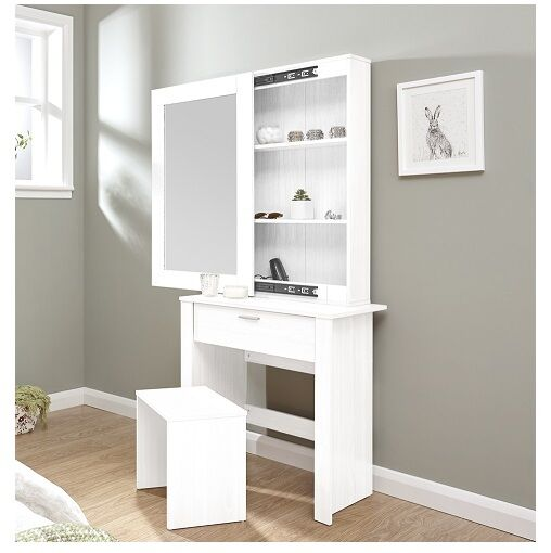 modern dressing table sliding mirror stool white vanity. Black Bedroom Furniture Sets. Home Design Ideas