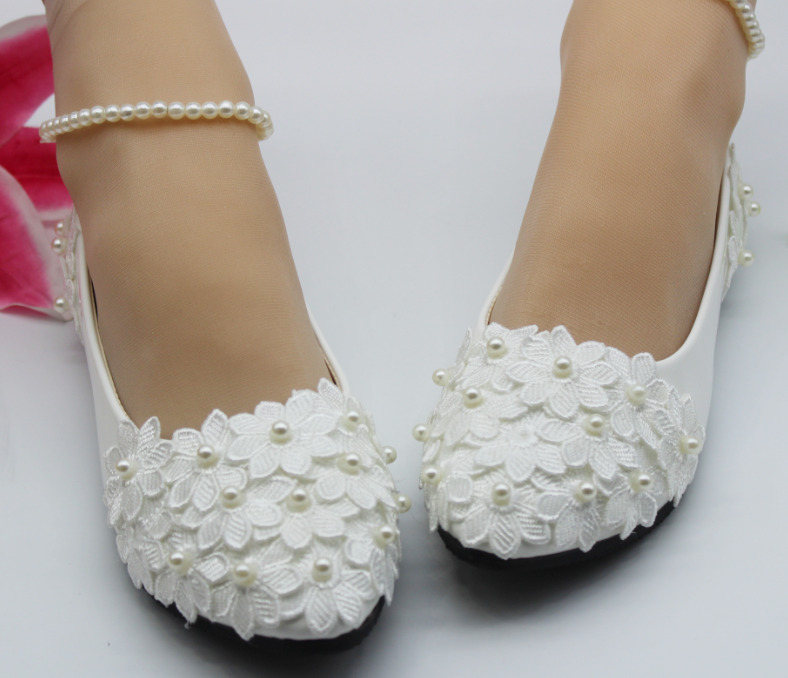 5c2c0f001dedf9 Details about SELL Lace white ivory crystal Wedding shoes Bridal flats low  high heel pump size
