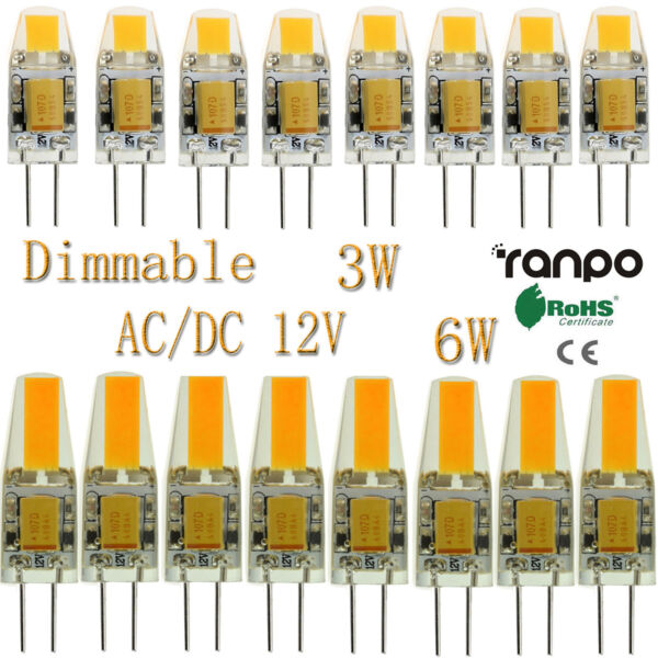 50x 100x Dimmable LED Bulbs G4 3W 6W COB Lights Silicone Crystal AC DC 12V ST138