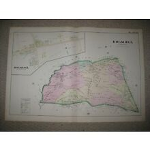 MASTERPIECE HUGE ANTIQUE 1889 HOLMDEL TOWNSHIP NEW JERSEY HANDCOLORED MAP FINE
