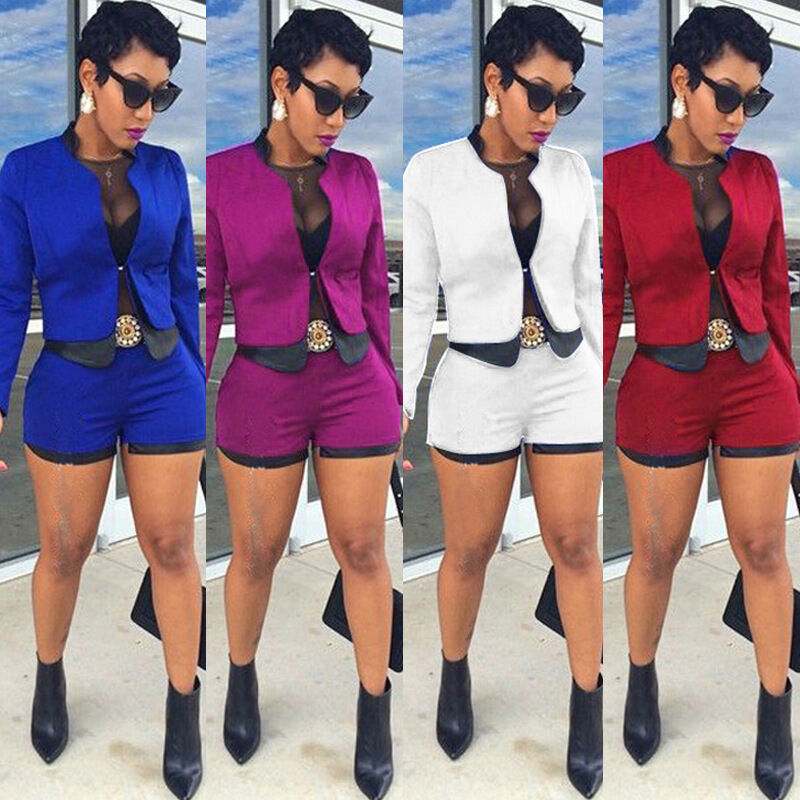 Fashion Women Business Suit 2Piece Set Short Pant Suits ...