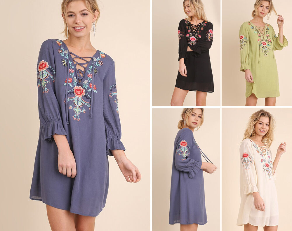 Umgee floral embroidered lace up tunic dress long sleeve