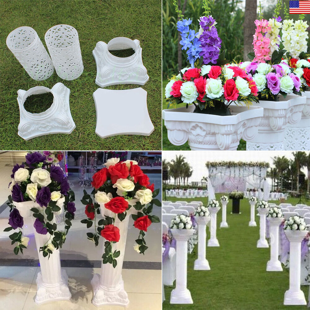 Wedding Flower Pillars: White Decorative Wedding Plastic Roman Adjustable Column