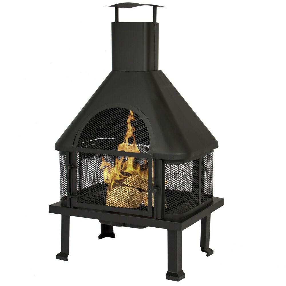 Bcp Firehouse Fire Pit With Chimney Outdoor Backyard Deck