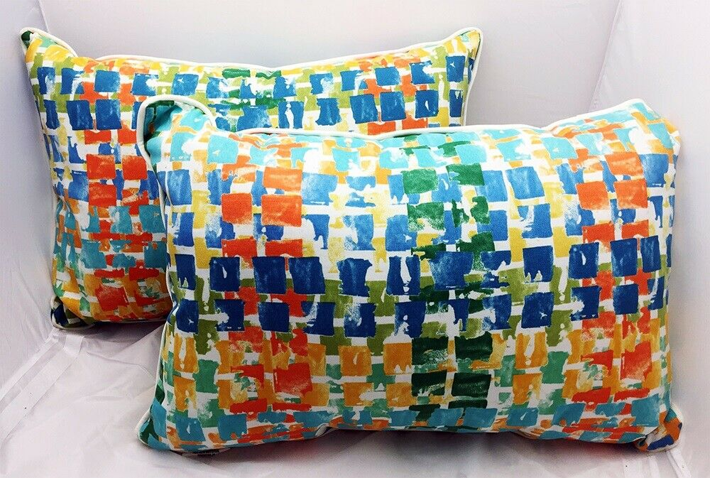 Pillow Perfect Outdoor Indoor Throw Pillows Multicolored Rectangle