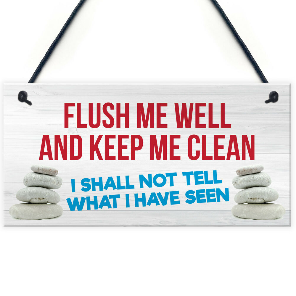 Toilet Flush Me Well Sign Funny Novelty Loo Door Hanging