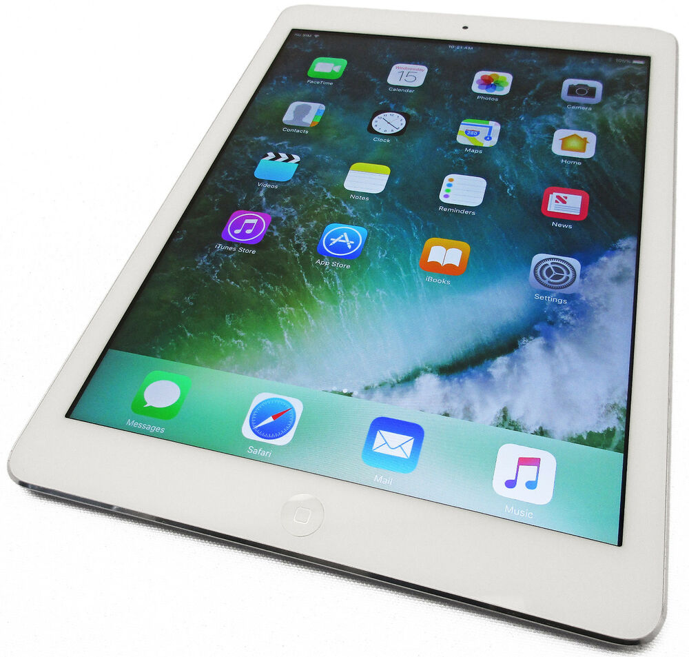 unlocked apple ipad air 32gb wifi gsm white silver ios 10. Black Bedroom Furniture Sets. Home Design Ideas