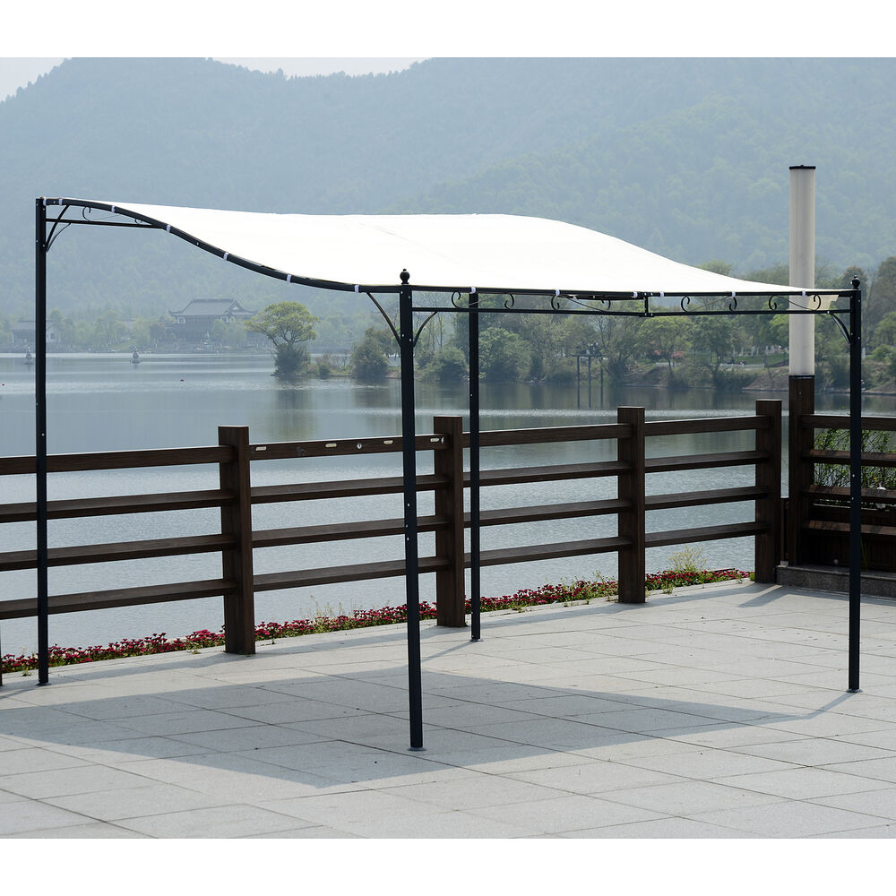 3m X 3m Wall Mounted Gazebo Awning Canopy Sun Shade Door