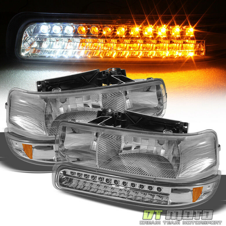 4pc 1999 2002 chevy silverado 00 06 suburban tahoe headlights led bumper lights ebay
