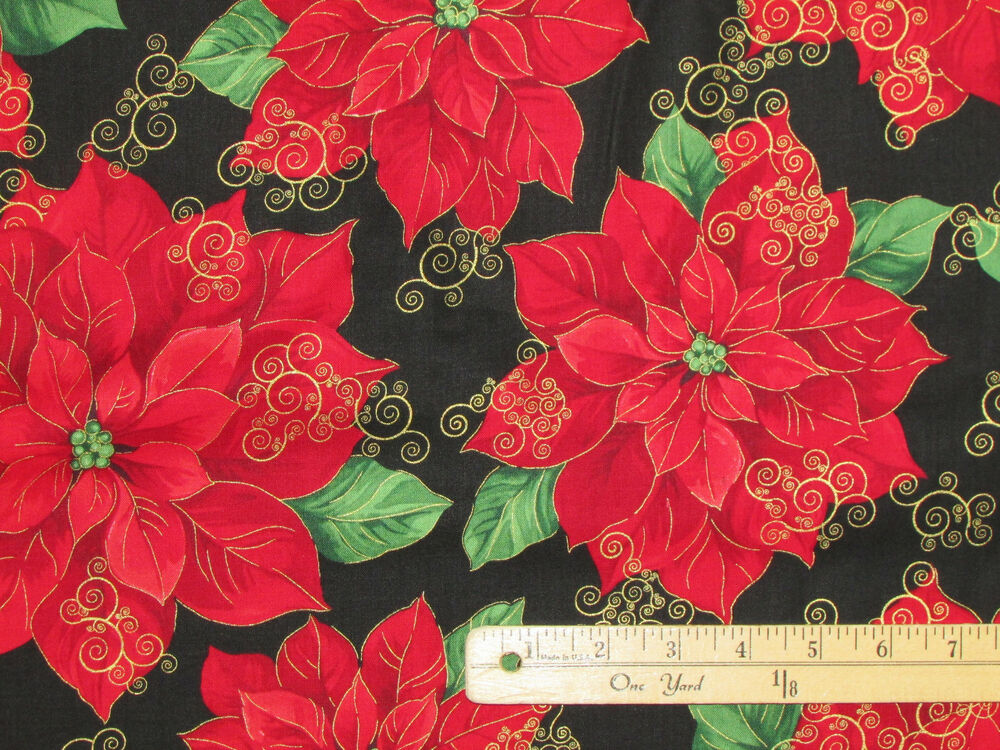 christmas morning large poinsettia holiday fabric by the 1 2 yard cm4994 ebay. Black Bedroom Furniture Sets. Home Design Ideas