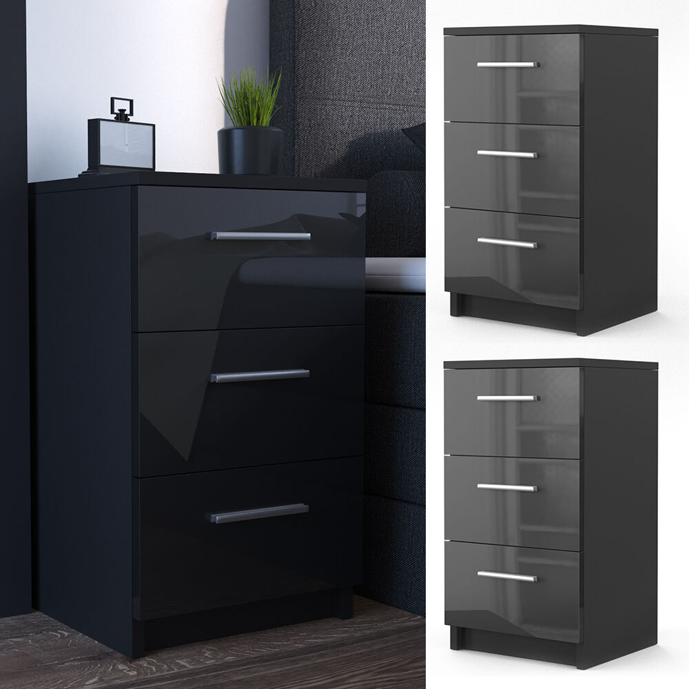 vicco nachtkommode boxspringbett 2er set nachtschrank nachttisch schw hochglanz ebay. Black Bedroom Furniture Sets. Home Design Ideas