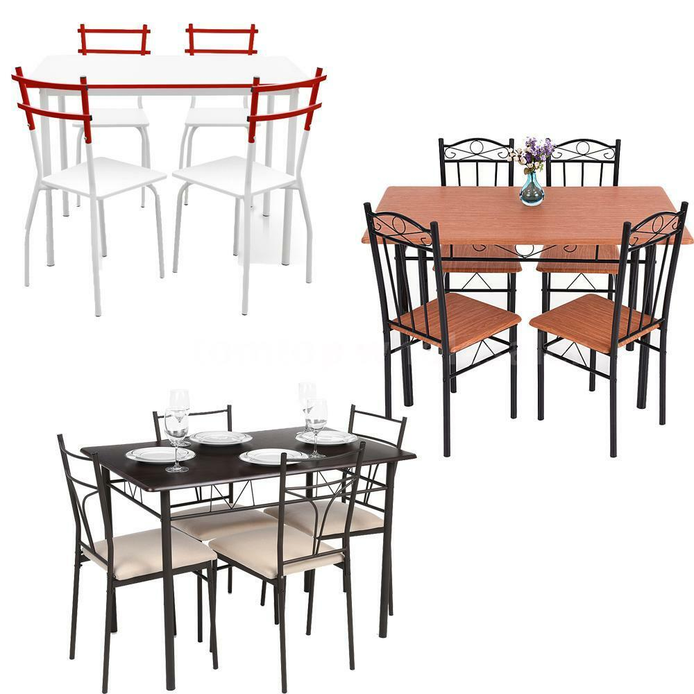 Kitchen Table Picnic Style: 5PCS Modern Dining Table W/ 4 Chairs Set Dinette Kitchen