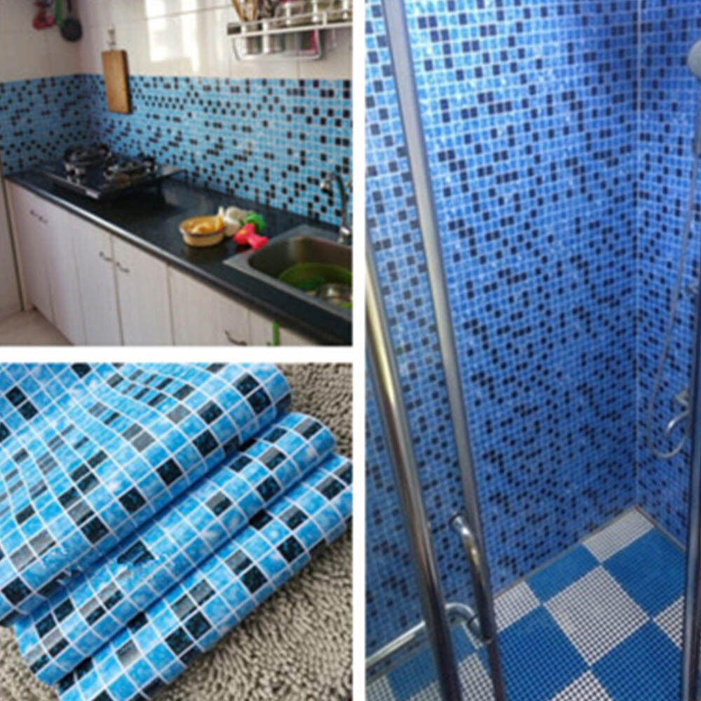 Kitchen Bathroom PVC Tiles Mosaic Self Adhesive Wallpaper for ...
