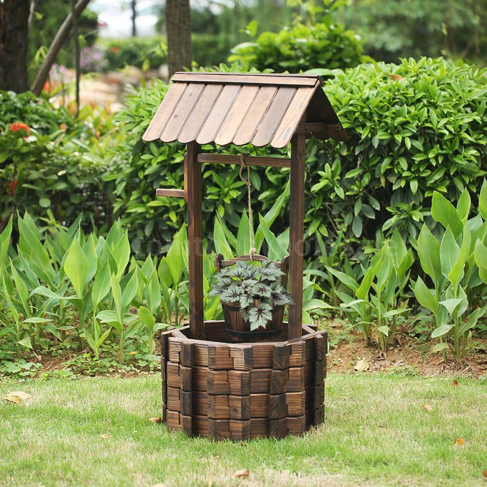 Ikayaa wooden wishing well bucket flower planter patio for Patio garden accessories