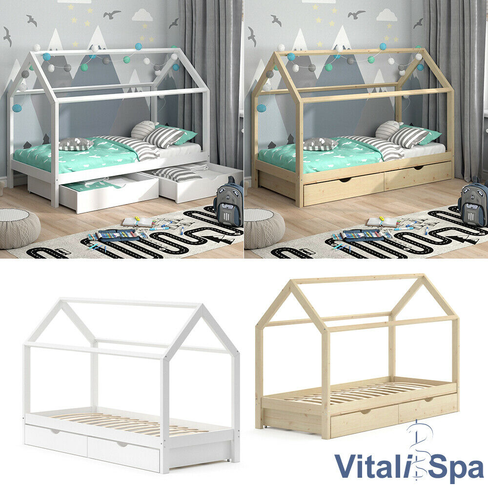 vicco kinderbett hausbett kinderhaus bett holzbett spielbett wei grau natur ebay. Black Bedroom Furniture Sets. Home Design Ideas