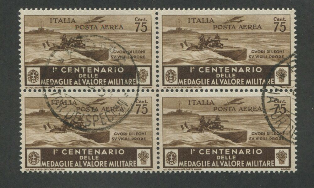 block of 4 1934 italy motorboat patrol air mail postage stamps  c68 cv  44