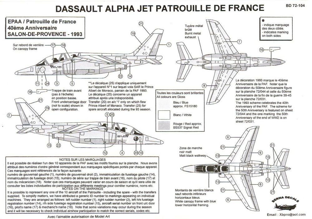 berna decals 1 72 dassault alpha jet patrouille de france demonstration team ebay. Black Bedroom Furniture Sets. Home Design Ideas