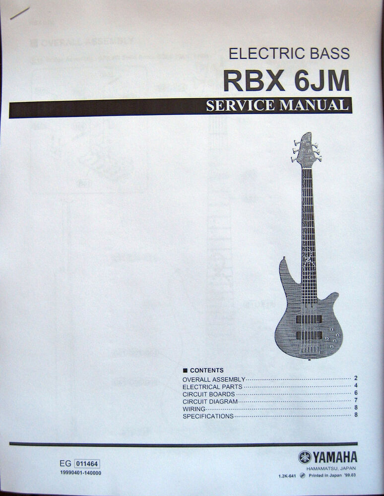 Yamaha RBX 6JM Electric Bass Guitar Service Manual and Parts List