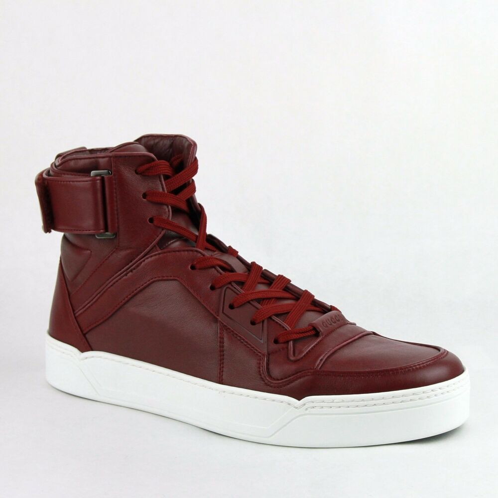 cceb640cf86fd Details about New Gucci Men s Strong Red Leather High Top Sneakers w Strap  386738 6148