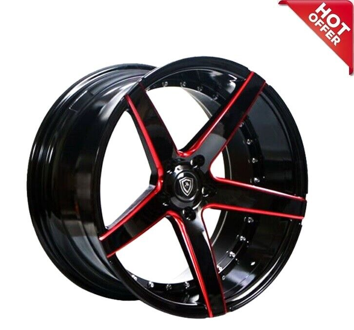 20 Quot Mq 3226 Wheels Black Red Milled Accents Staggered Rims