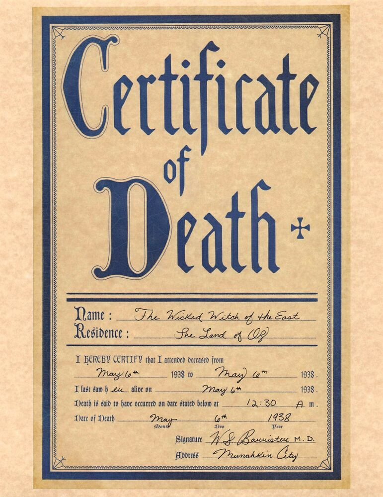 Wizard Of Oz Certificate Of Death Wicked Witch Of The East > Prop ...