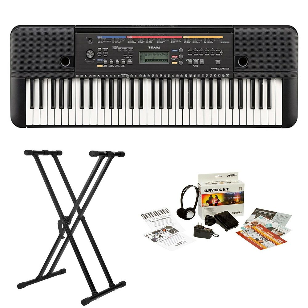 yamaha psre263 61 key portable keyboard with survivalkit and knox double x stand 646791418695 ebay. Black Bedroom Furniture Sets. Home Design Ideas