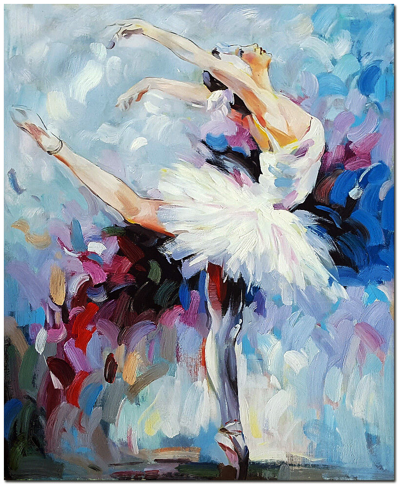 Hand Painted Ballet Dancer Oil Painting - Modern ...