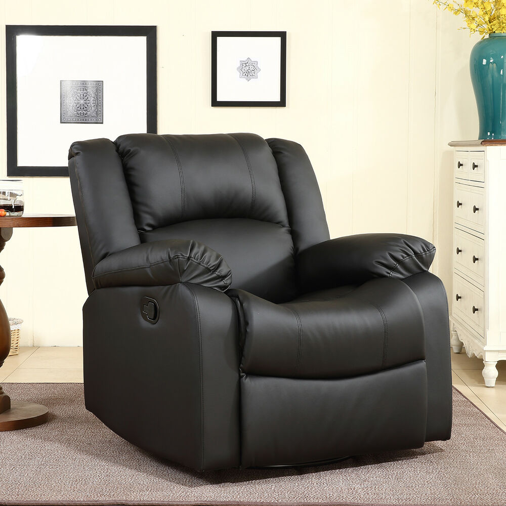 Recliner And Rocking Swivel Black Plush Over Stuffed Faux