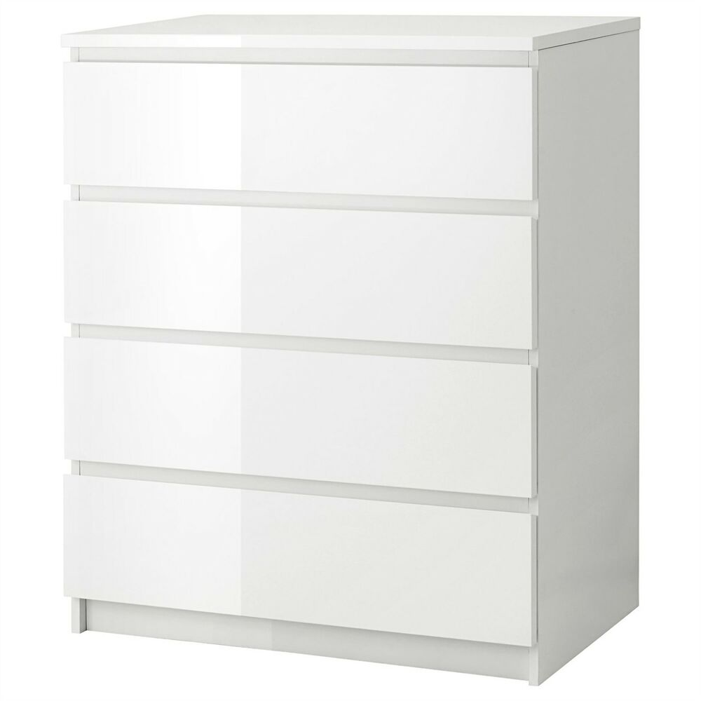 Ikea Malm Chest Of 4 Drawers 80x100cm White High Gloss
