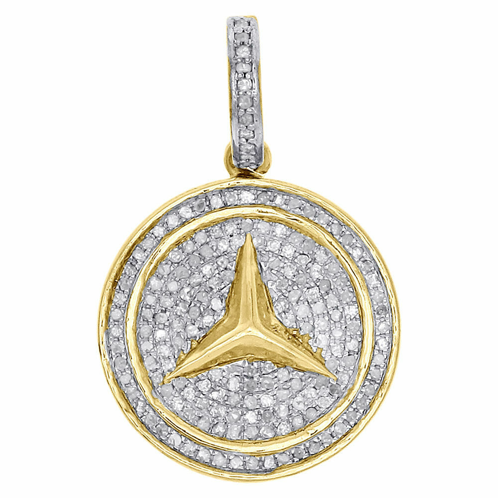 10k yellow gold genuine diamond mercedes medallion pendant for Mercedes benz pendant