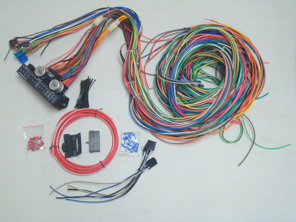 12 circuit wiring harness ebay Harness Wiring Kit For Hord 12v 24 circuit 15 fuse street hot rat rod wiring harness wire kit complete Ford Wiring Harness Kits