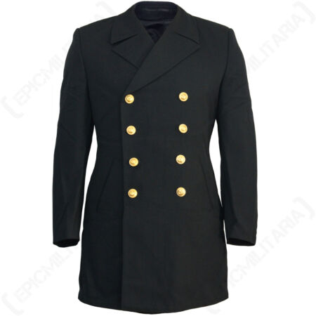 img-Original German Navy Pea Coat - Winter Over Jacket Tartan Lined Military Surplus
