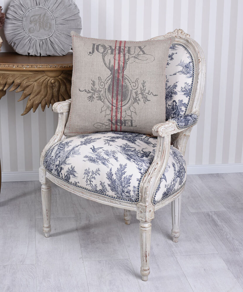 franz sisches dekokissen leinenkissen kissenbezug shabby chic kissen ebay. Black Bedroom Furniture Sets. Home Design Ideas